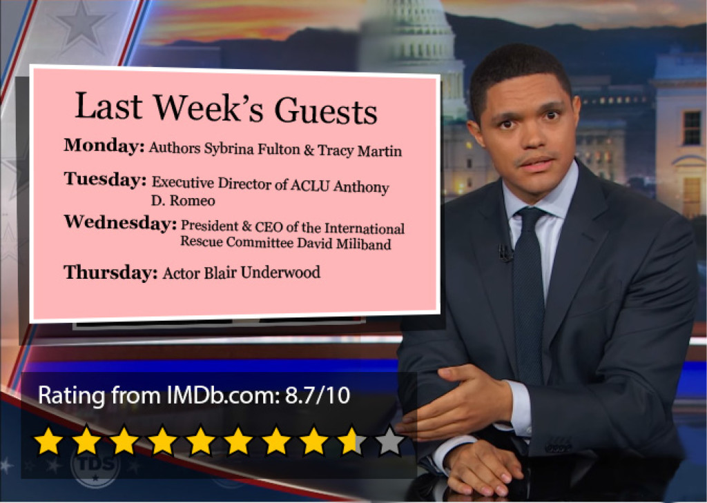 """""""The Daily Show with Trevor Noah"""" can be viewed during weeknights on Comedy Central. The program is rated TV-14."""