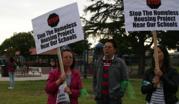 Temple City residents protested the Mercy Housing project at the May 16th city council meeting.
