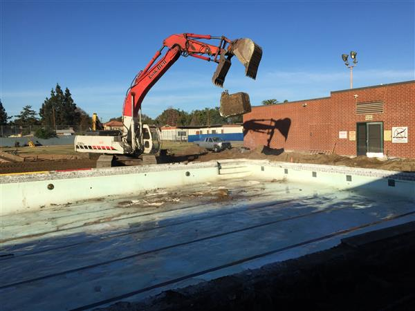 Construction of phase 1B of Measure S commenced following the Thanksgiving holiday break. The softball field, pool and previous portable location are progressing as scheduled.